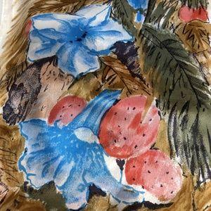 Vera Neumann Accessories - Vera Neumann Oblong Silk Scarf Blue Pink Flowers